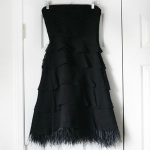 BCBG Maxazria black strapless dress feathers